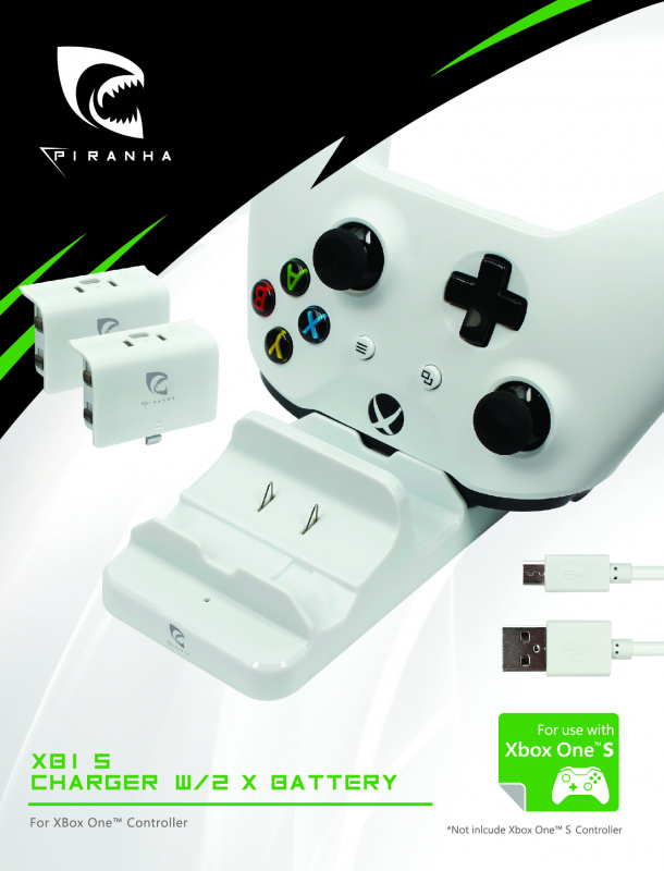 Piranha Xbox One 控制器 充電座 XB1S + 2 *電池