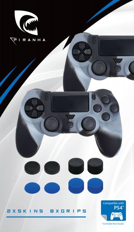 Piranha PS4 PlayStation 4 控制器皮膚 * 2 + 8 手柄按鍵