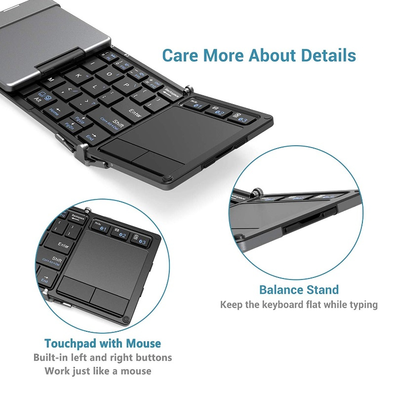 iClever BoostType BK08 Portable Tri-folding Bluetooth Keyboard with Touchpad