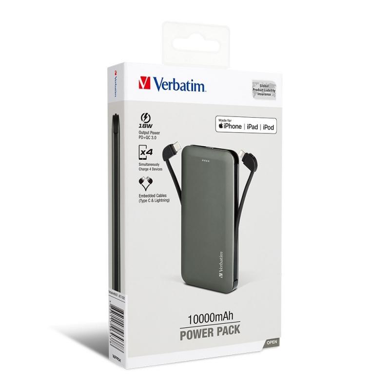 Verbatim 10000mAh PD & QC 3.0 流動充電池 (連嵌入式充電線) 66438