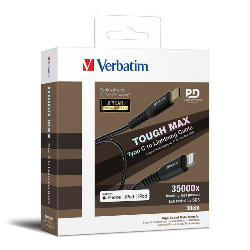 Verbatim Sync & Charge Tough Max Type C to Lightning Cable 30cm