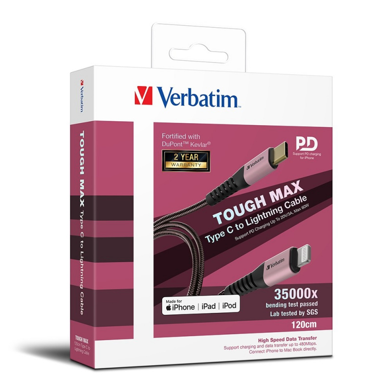 Verbatim Sync & Charge Tough Max Type C to Lightning Cable 120cm