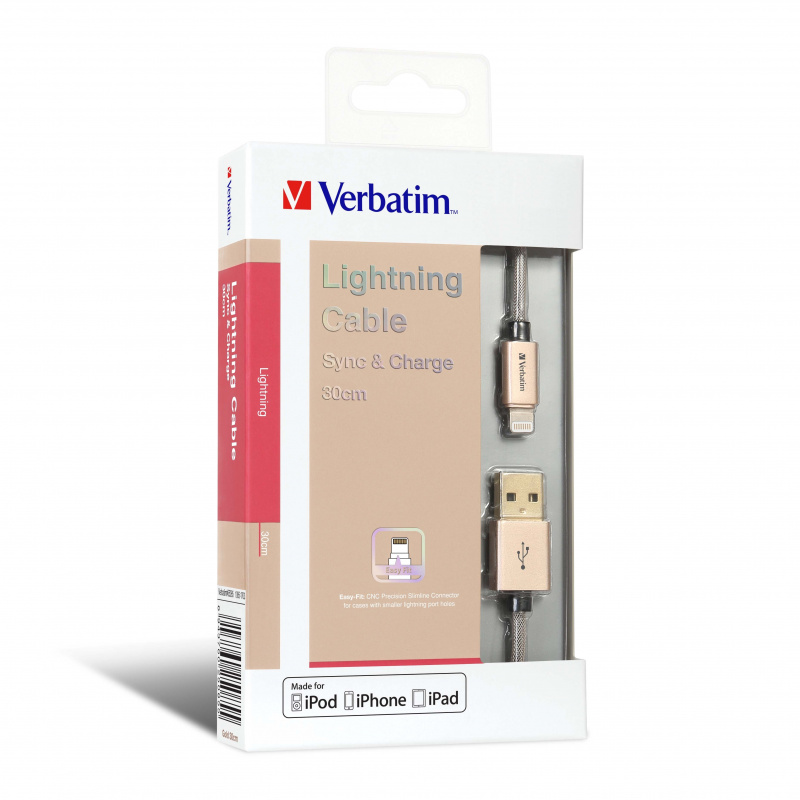Verbatim 30cm Sync & Charge Step-up Lightning Cable