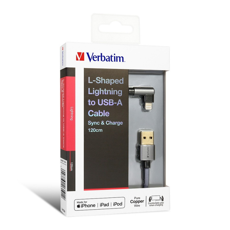 Verbatim 120cm L-Shaped Lightning to USB-A 充電傳輸線
