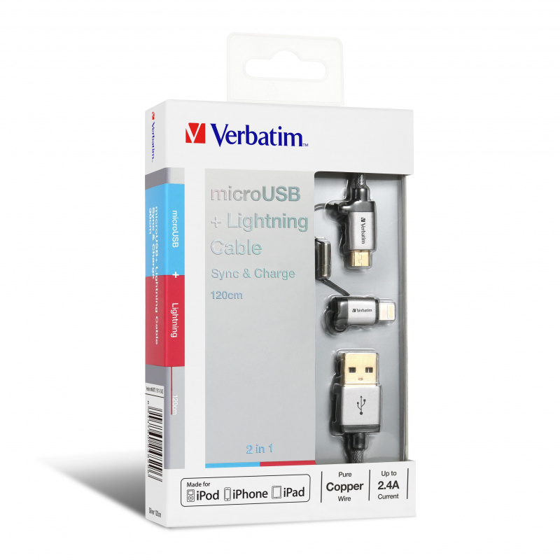 Verbatim 1.2m 2 in 1 Sync & Charge Lightning and Micro USB Cable
