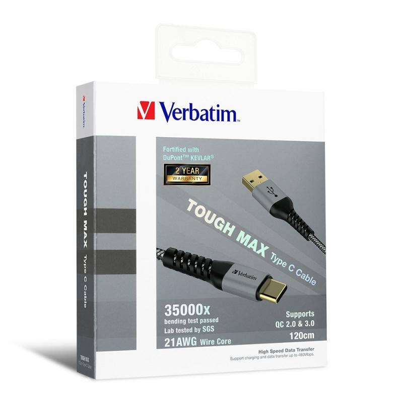 Verbatim Sync & Charge Tough Max Type C Cable 120CM