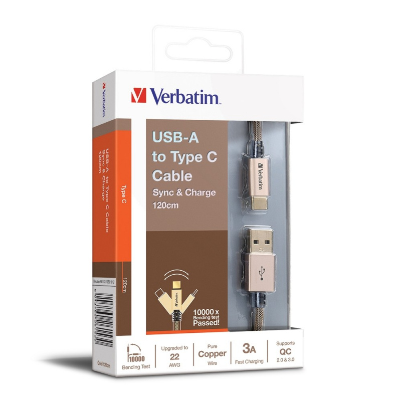 Verbatim 120CM USB-A to Type C 充電傳輸線 V3