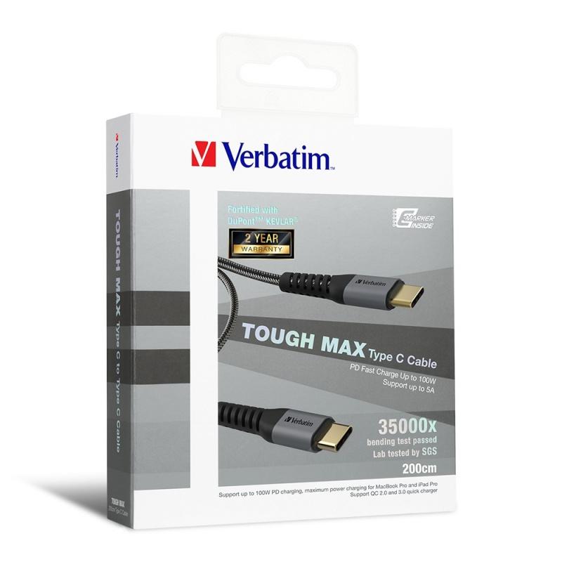 Verbatim Sync & Charge Tough Max Type C to Type C Cable 200cm
