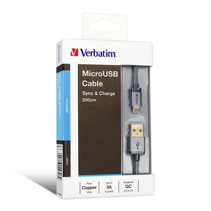 Verbatim Metallic Charge & Sync Micro USB Cable 2M
