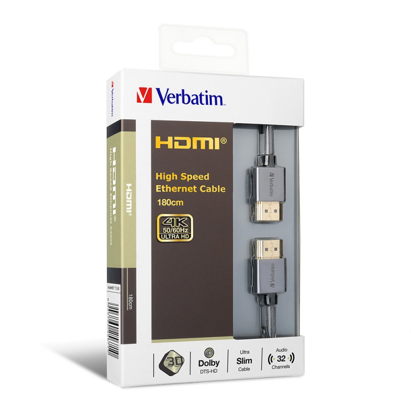 Verbatim HDMI V2.0 High Speed Ethernet HDMI Cable (180cm/約6尺) - 65671
