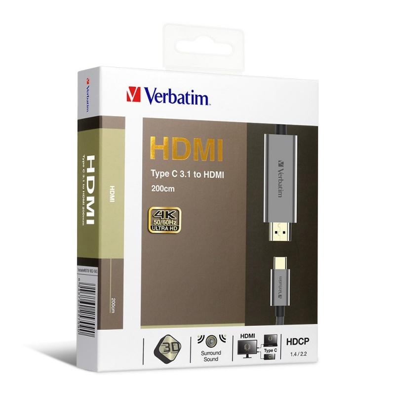 Verbatim Type C 3.1 to HDMI 4K Cable 2M - 65709