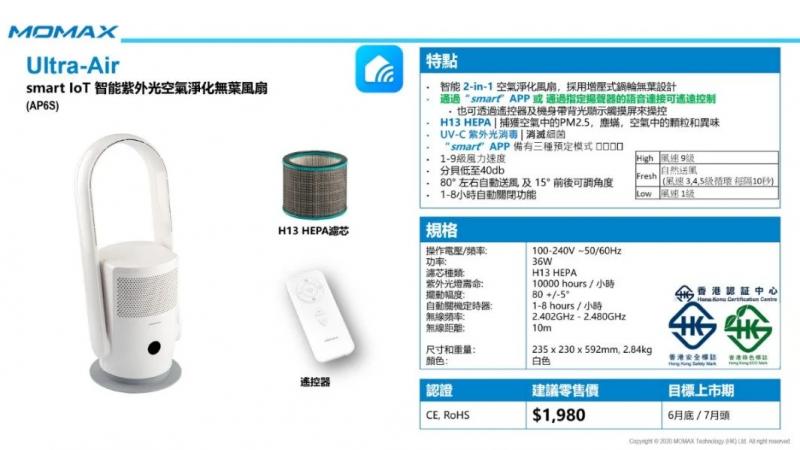 MOMAX smart Ultra-Air IoT智能紫外光空氣淨化無葉風扇  AP6S