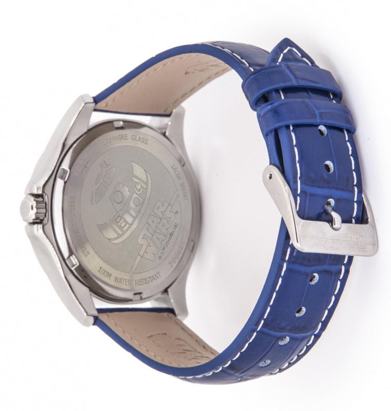 R2-D2 WATCH 全鋼色鋼殼 配 藍色皮帶