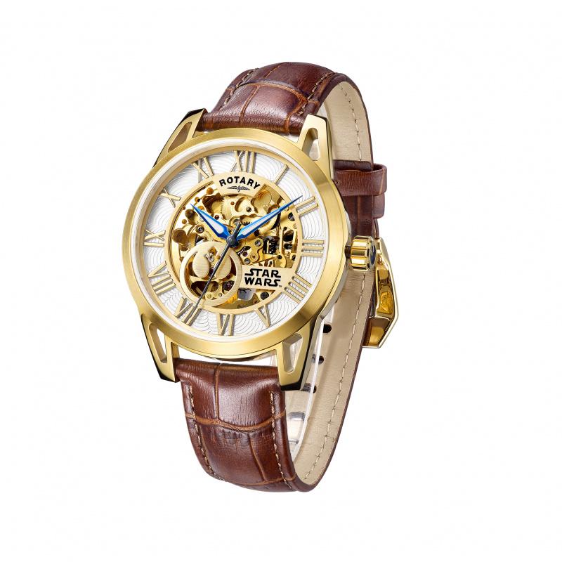 StarWars 電鍍金色鋼殻 配 啡色皮帶 機械自動錶