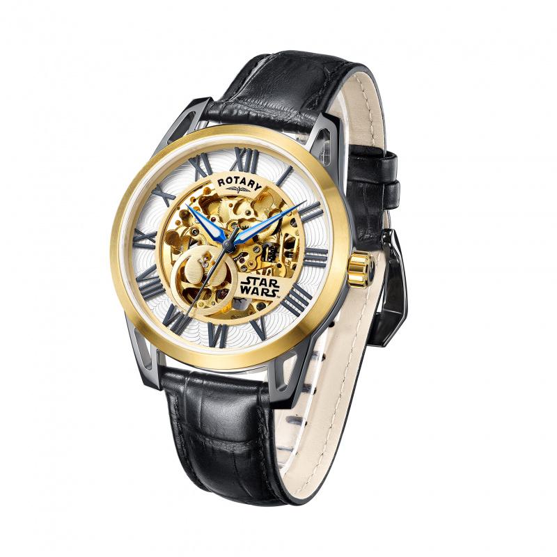 StarWars 電鍍金色鋼殻 配 黑色皮帶 機械自動錶