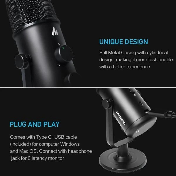 MAONO 360° Adjustable Cardioid Omnidirectional USB Microphone AU-903🎙💬🎶