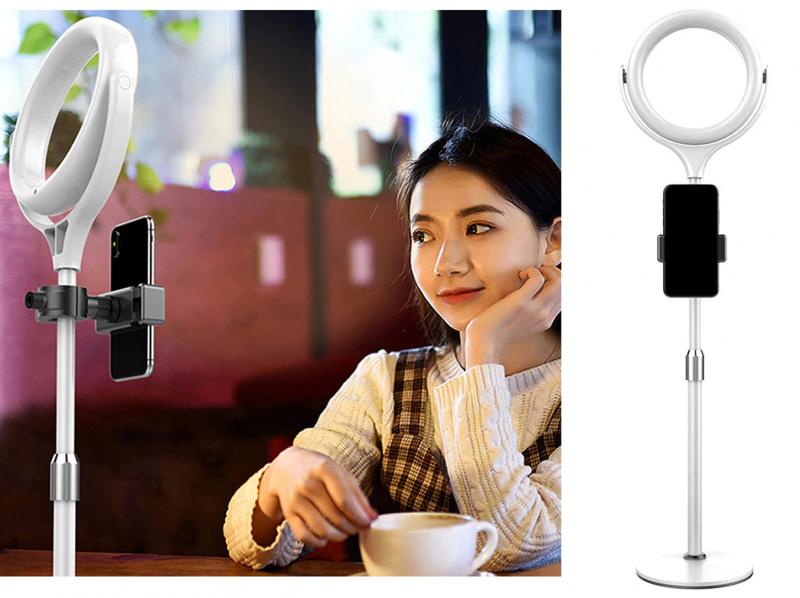 adjustable/desktop beauty led ring light/10 level brightness/(cool white/warm light/mix light)/座台式led補光燈/10级光度/可調高度/直播/攝拍/拍照/照明/black