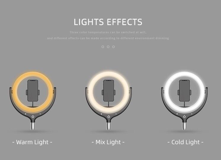直播/拍照/攝影Led 補光燈(白光+黃光)9級光暗度l of lightness(warm light +cool white)/video photography/直播/拍照/攝影Led 補光燈(白光+黃光)9級光暗度
