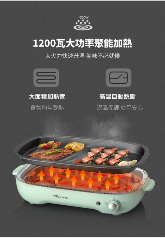 小熊 多功能 料理鍋 (復古綠色) Model: DKL-D12Z4🍲🥘🍳