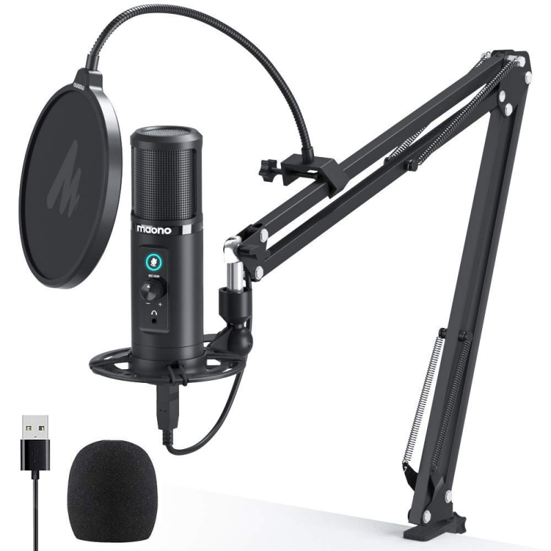 MAONO USB Microphone Podcast Zero Latency Monitoring PM422