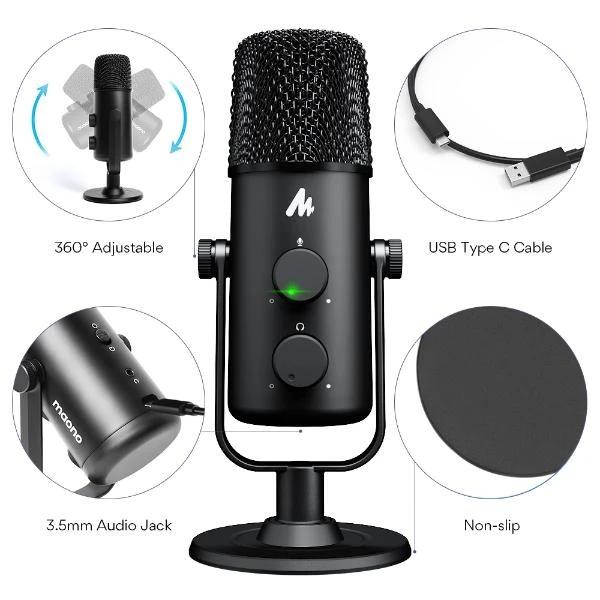 MAONO 360° Adjustable Cardioid Omnidirectional USB Microphone AU-903