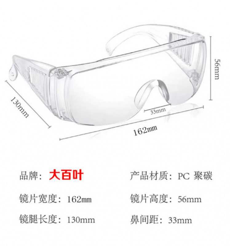大百葉款高清防飛沬眼鏡,防唾沫眼鏡,護目鏡,眼鏡