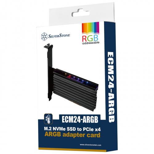 SST-ECM24-ARGB PCIe x4 NVMe SSD interface with heatsink (M key)