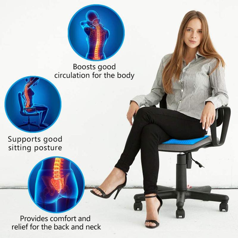 凝膠坐墊 (四季均適用於家居, 辦公室及車內) - 佩黑色套 (尺寸40x34x3.5cm)