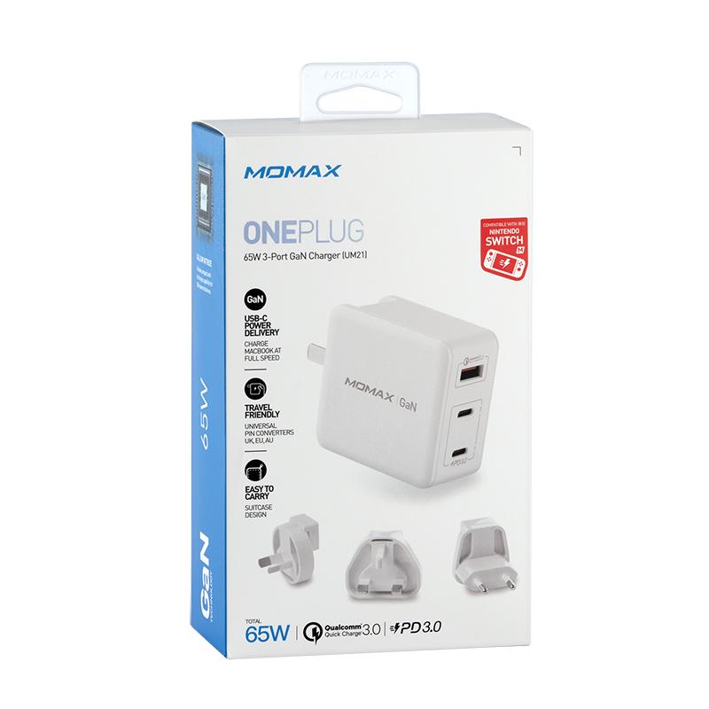 Momax ONEPlug 3-port GaN 快速充電器 65W 白色 超輕巧全球通用 UM21UKW