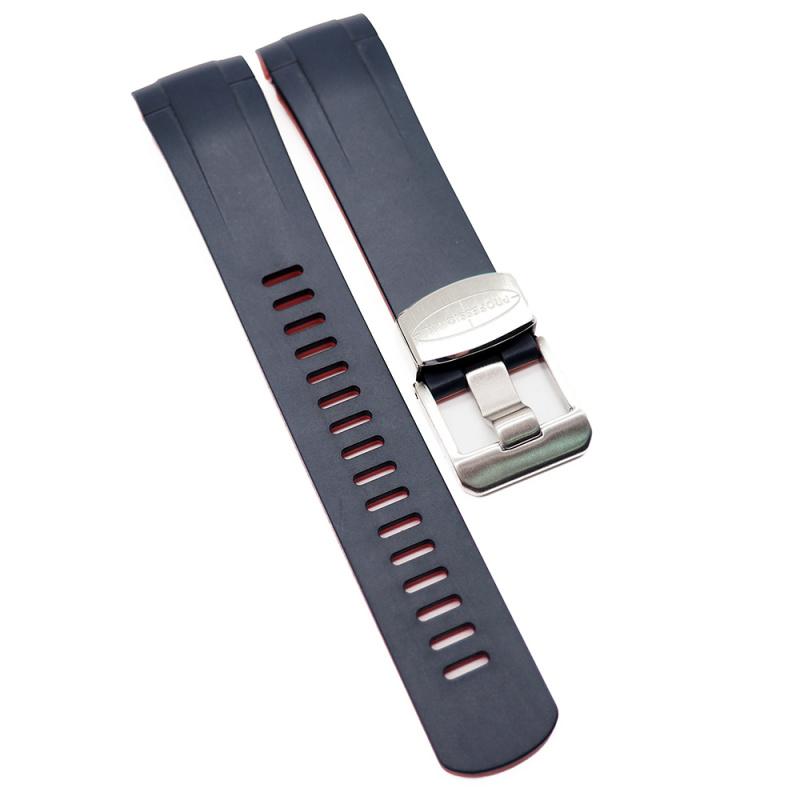 Crafter Blue 22mm 藍紅雙色優質硫化橡膠錶帶 合適 Tudor Black Bay 41mm