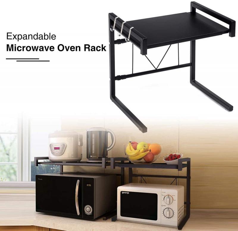 2層伸縮廚房微波爐架 [黑色]