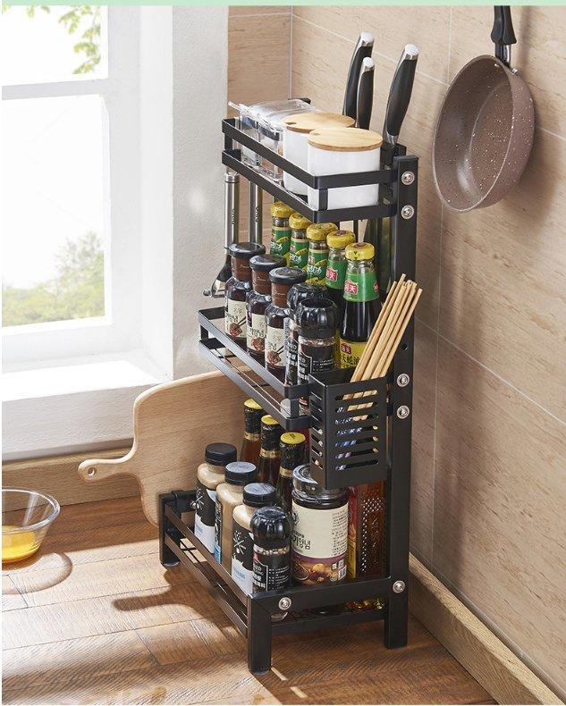 不鏽鋼 3層廚房調味料爐頭置物架