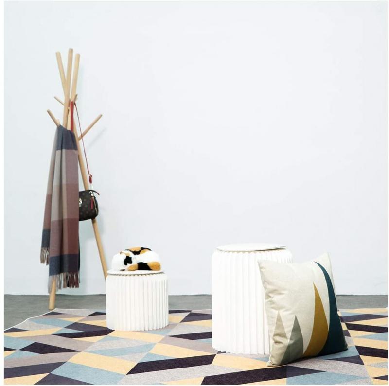 西歐設計風琴式伸縮紙座椅 可作書本收藏 棕色