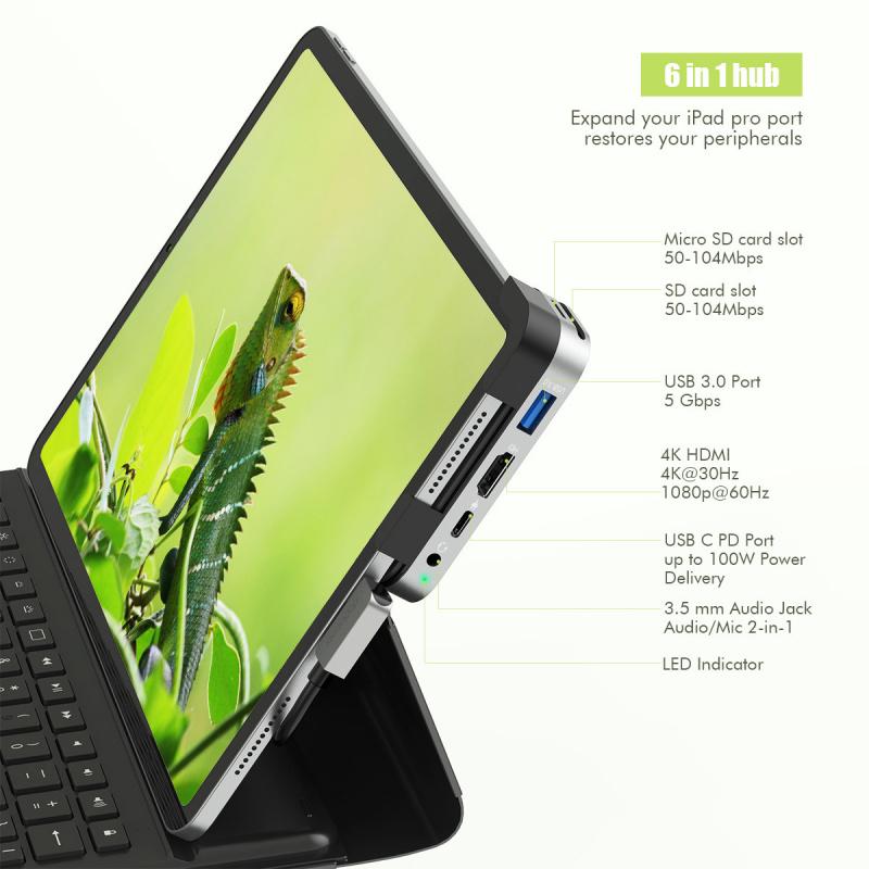 dodocool DC75GY 6合1 iPad Pro 專用多功能USB-C Hub 擴展器/轉換器
