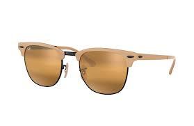 Ray-Ban RB3716 9157AG Clubmaster Metal 太陽眼鏡   淺啡色鏡框及 黃色水銀漸變鏡片