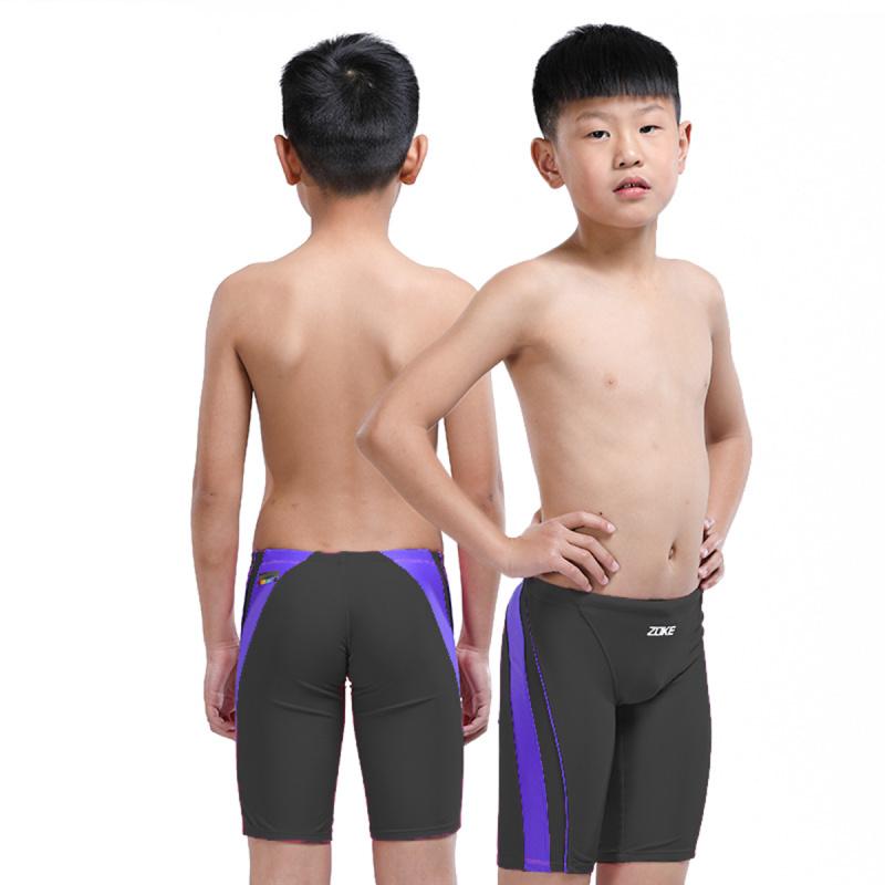 少年五分泳褲 - 黑/紫