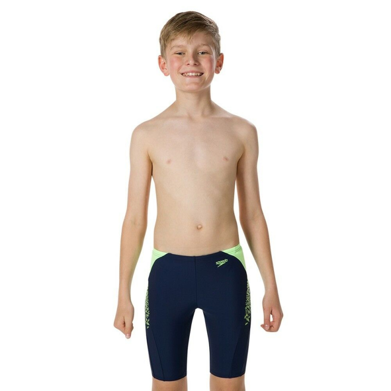少年經典印花健身訓練五分泳褲 - 深藍/綠