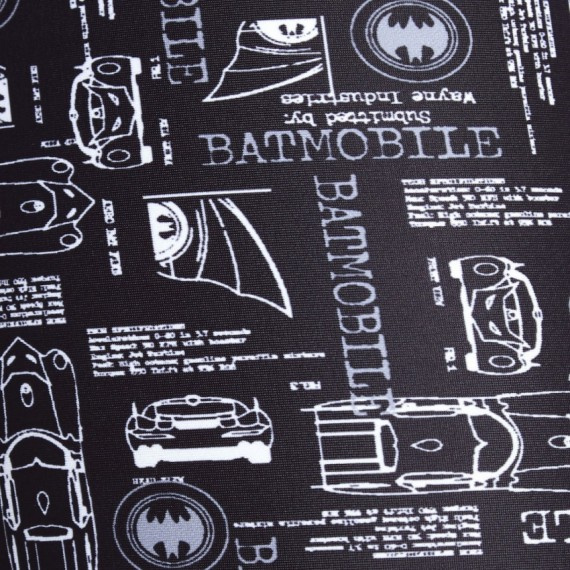 青少年蝙蝠俠印花五分泳褲 - 黑/白