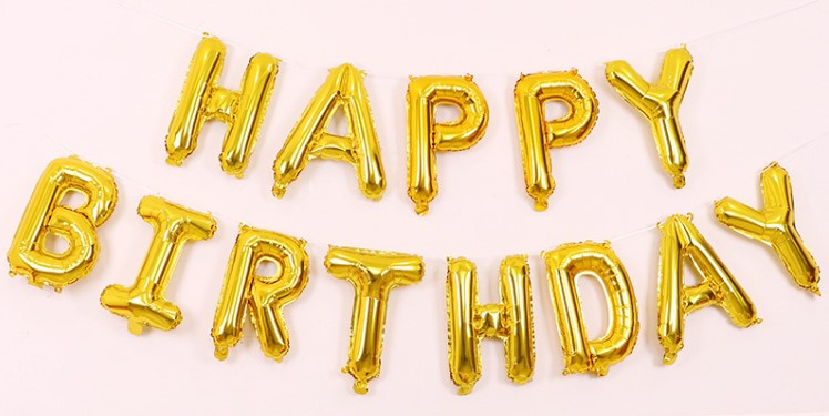 金色幼字HAPPY BIRTHDAY 鋁膜氣球