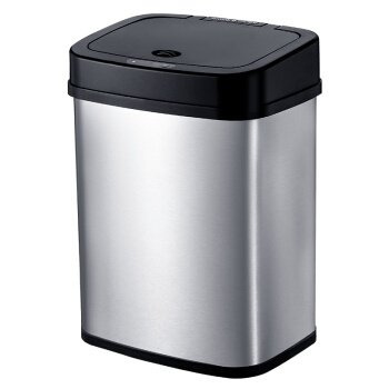 Ninestars USA 不銹鋼紅外線智慧感應垃圾桶 12L 經典黑