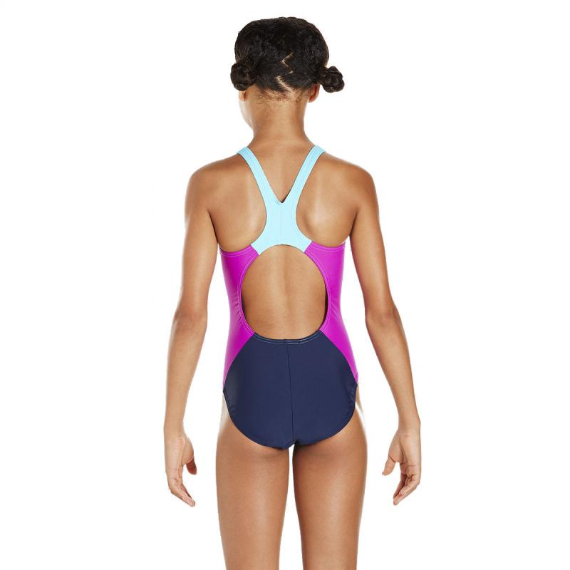 少女連身泳衣 - 深藍/藍
