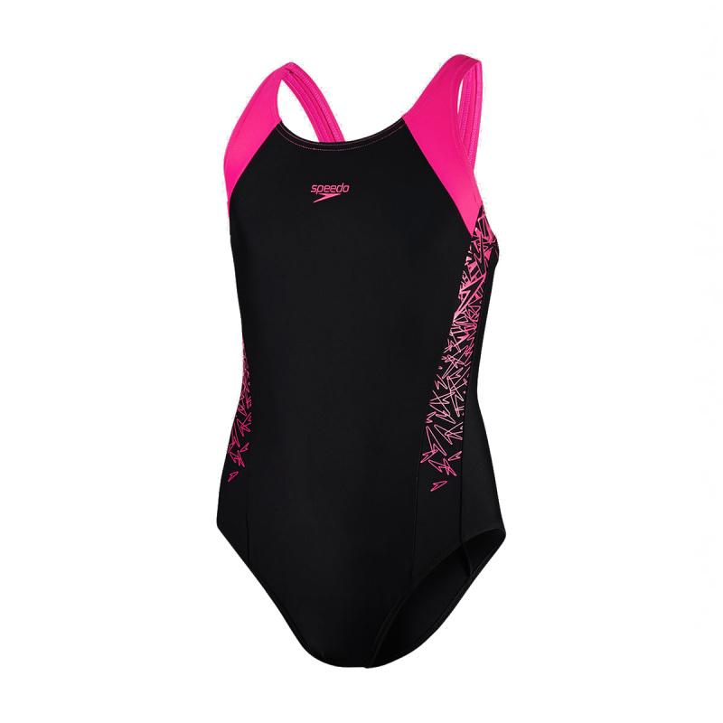 少女經典印花連身泳衣 - 黑/粉紅