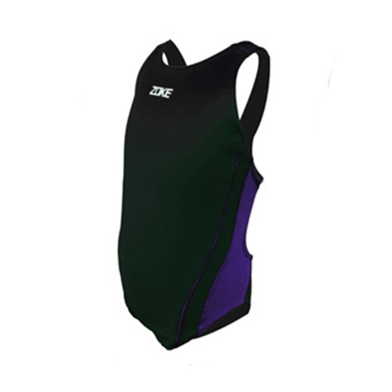女童連身泳衣 - 黑/紫