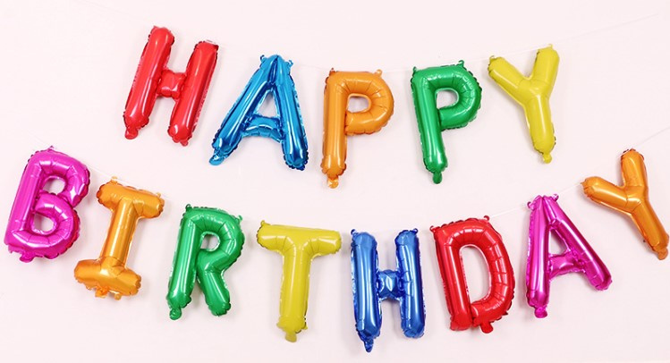 彩色淨色HAPPY BIRTHDAY 鋁膜氣球