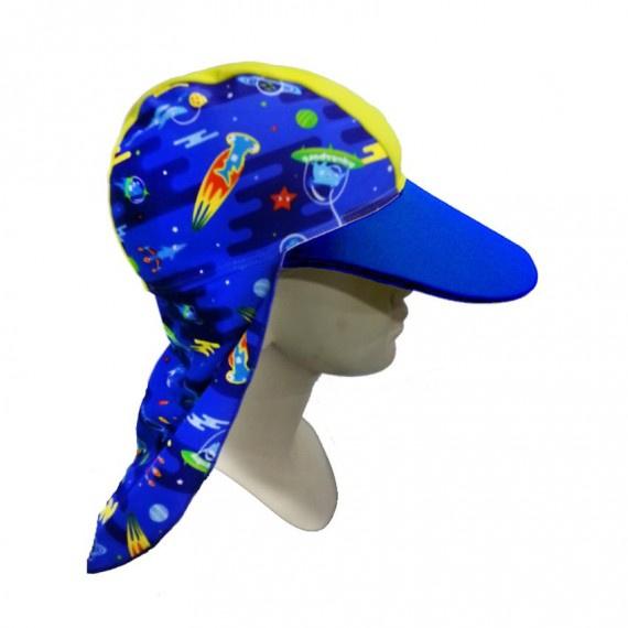 少年防曬帽 (6-14歲) - 藍