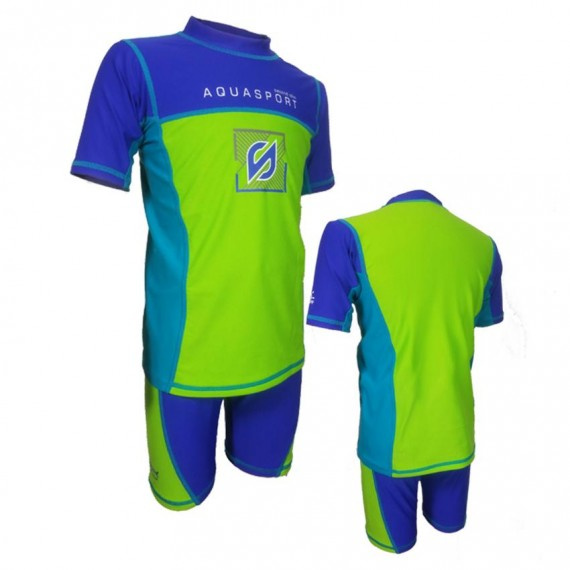 兒童防曬套裝 - 藍/綠