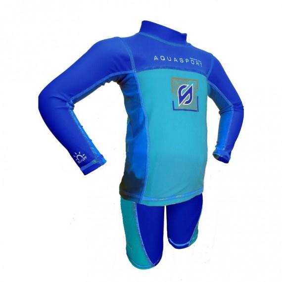兒童防曬套裝 - 藍/湖水藍