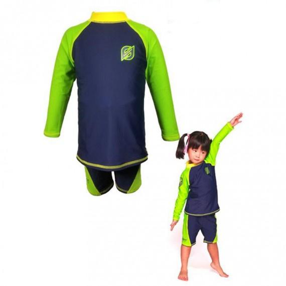 兒童防曬套裝 - 綠/深藍
