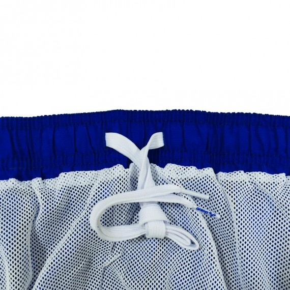 男子純色休閒16吋游泳短褲 - 藍