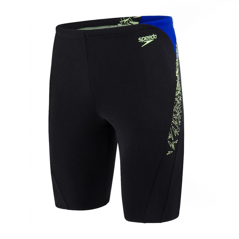 男子經典印花健身訓練五分泳褲 - 黑/綠/藍